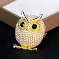 Bird Owl Brooch Pins Silver Gold Pearl Brooches Business Suit Dress Tops Corsage for Women Men Fashion Jewelry Will and Sandy