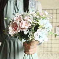 Fiori decorativi Corone 1 Bouquet Artificial Seta Peonia Europeo Germoglio Bocciolo europeo Bride per la festa di nozze Decorazioni per la casa di alta qualità Decorazioni finte