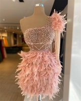 2021 Luxurious Arabic Feather Cocktail Dresses Blush Pink Crystal Beaded Short Mini One Shoulder Sheath Evening Prom Party Dress Homecoming Gowns Cutaway Sides