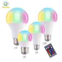 Ampoule LED RGBW 3W 5W 10W 15W E27 82-265V Globle Bulbs Light Coloré Bombillée Bombille Intérieur Home Spot Spot Lampadaire