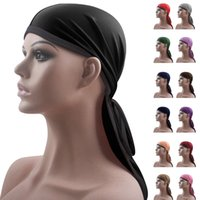 Men Women Silky Pirate Durag Bandanna Turban Hat Doo Rag Biker Headwear Headwrap Unisex Bonnet Hair Loss Skullies Beanies Caps