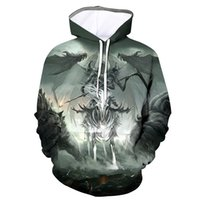 2020 Black Halloween flame death with knife new trend round neck sweater 3D printing digital Pullover