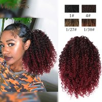 Synthetic Wigs Vigorous Short Afro Curly Drawstring Ponytail Hair Piece For African American Black Women Clip In