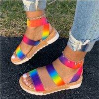 Женские летние лодыжки ремешок сандалии сандалии радуги цветные платформы клиньев каблука Peep toe мода повседневная пляж женская обувь zapatos de mujer 210619 8ps6
