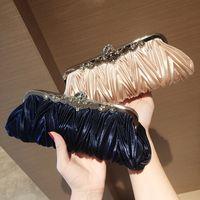 Hot Sell Ruffled silk dinner clutch bag dumpling type bride wedding handbags shoulder bag