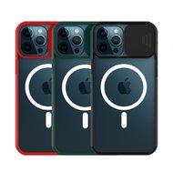 Ventana de diapositivas magnéticas Clear Acrílico Avión a prueba de choques Cajas para teléfono móvil para iPhone 12 11 Pro Max XR XS X Mini compatible con el cargador de Magsafe