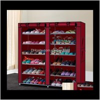 Держатели стеллажи 6ROW 2line 12 решетки нетканые материальные материалы сочетание стиль стойки обувь для хранения организатора обуви кабинета для обуви US сток BPXYQ CEOAAQ