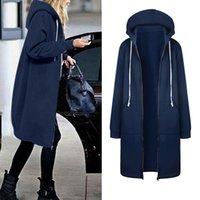 Women's Wool & Blends Autumn Spring Windbreaker Long Coat Warm Zipper Open Hoodies Sweatshirt Plus Female Jackets Outwear