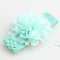 Favorito de fiesta Bebé Headwear Head Flowell Accesorios para el cabello de 4 pulgadas Flores de gasa con diademas de ganchillo elástico suave Elástico OWEE5649