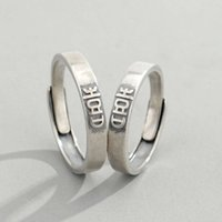 Jinyuan S925 sterling silver new happy word couple ring Chinese style old simple men's and women's pair ring