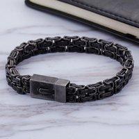 Link, Chain High Quality Fashion Men Punk Black Byzantine Bracelet Steel Double Link Geometric Bracelets Jewelry