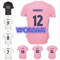 2021 NUEVO Real Madrid Hogar de la casa de la mujer # 7 Peligro de fútbol Jersey 2019 Madrid Asensio Isco Kroos Marcelo Girl Football Camisa uniforme