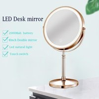 Compact Mirrors Lighted Makeup Mirror 10x Magnification 8 Inch Double Sidedechargeable Vanity Cosmetic With Touch Control