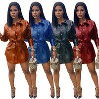 Mesdames PU Cuir Robe Mode Tendance longue Manches à manches longues Corset courte Jupe Courte Designer Femme Automne Nouveau bouton Casual Slim Plus Taille Robe