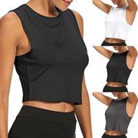 Women's T-Shirt Short Yoga Sports Dance Athletic Tank Crop Tops Shirts Sleeveless Cropped Gym Fitness Running Workout T-Shirts Wear