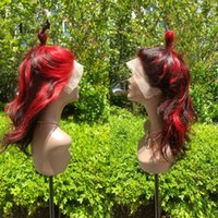 Atina Full Red Colored Lace Front Human Hair Wig Pre Plucked Ombre Highlight Brazilian Remy Body Wave Frontal For Women 250 Wigs