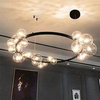 Chandeliers Black LED Chandelier Modern For Living Room Dining Table Bar Industrial Glass Ball Ceiling Pendant Lamp Shop Kitchen Lighting