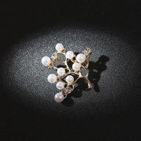 새로운 패션 지점 모조 진주 럭셔리 라인 석 대기 브로치 숙녀 선물 보석 꽃 브로치 눈물 브로치 핀