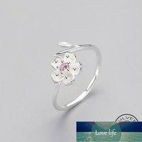 Real 925 стерлингового серебра Zircon эмаль сливы цветок регулируемое кольцо элегантные изысканные украшения для женщин романтическая вечеринка Bijoux