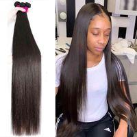 Bone Straight 30 Inch Long Brazilian Natural Human 1 3 4 For Black Women Virgin Hair Bundles
