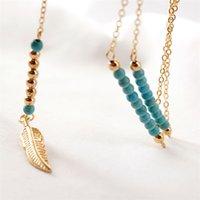 Longue Chaîne de perles de collier de plume de plume pour femmes Boho Bohemian Gold Feather Charm Déclaration Collier Ethnique Vintage Mode Juif 87 L2
