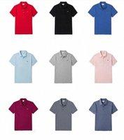 Летние мужские моды полос крокодиловые футболки высокого качества мужчины с коротким рукавом случайные тройники классика плюс мужская сплошная футболка поло