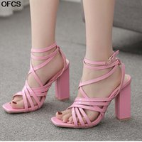 Sandals Women Square Toe Thick Heel Anklet Buckle Strap Fashion PU Leather Cross High Shoes 210517
