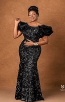 Black Sequins Mermaid Prom Party Dresses For Arabic Aso Ebi Style 2022 Off Shoulder Plus Size Sweep Train Evening Occasion Gowns Vestdios De Novia