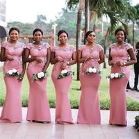 Vestido de Festa Longo Afrikanischer Sheer Hals Mermaid Rosa Bridemaid Kleider 2020 Spitze Appliqued Prom Dress Formale Partykleider