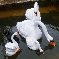 Resina galleggiante Bianco Nero Swan Outdoor Garden Pond Serbatoio Pesce Decorativo Scultura per il nuoto per arredamento Ornamento Decorazioni