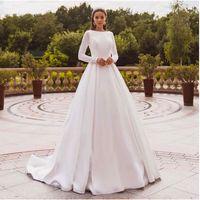 Vestidos de casamento elegante vestidos de manga longa laço vestido de noiva muçulmano vestido de casamento coberto de volta vestido de novia 2021