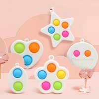 Fidget Toys Decompression Keychains Finger Bubble Floral Press Relief Fingertip Toy Stress Educational Kids Baby Gift Squeeze Sensory Pendant