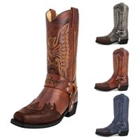 Boots 2021 Classic Embroidered Western Cowboy For Women Leather Cowgirl Low Heels Shoes Knee High Woman Dames##g