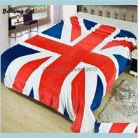 MAQUETAS HOGAR LEJILLOS JARDÍN UNION UNION JACK JACK BRITÁNICO UK BANDER MANTENIMIENTO EE. UU. EE. UU. Fleece Fleece lanzar en la cama / sofá / coche Canadá 150x200cm gota