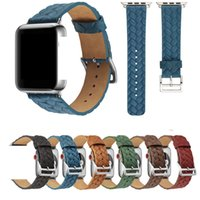 Braided Leather Strap For Apple Watch Series 6 5 4 SE Bands Fashion Woven Pattern Wristbands Women Bracelet iwatch 44mm 42mm 40mm 38mm Watchband Smart Accessories
