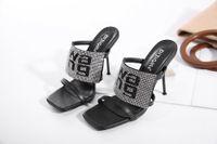 2020 Yaz Seksi Kristal Süslenmiş Yüksek Topuklu Stiletto Squared Toe Kadın Sandalet Parti Düğün Moda Ayakkabı Kadın Terlik HWS323