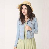 LY Automne Vintage Mode Denim Manteaux Vêtements Collier Collier Femmes Crop Top Solide Slim Manches Longues Mesdames Vestes 62471 211014