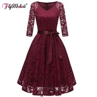 Casual Dresses Autumn Plus Size V-Neck Formal Dress Women Elegant Party Floral Ball-Gown Red Short Sleeve Lace Ladies Bridesmaid Robe Weddin