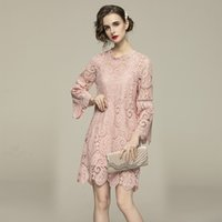 Quality Solid Color Sweet Lace Dress Runway 2021 Designer Long Sleeve Mock Neck Holiday Prom Office Ladies Graceful Dresses Summer Autumn Classic Women Clothes