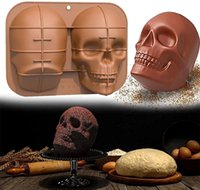 Soft 3D Skull Silicone Cake Mold Large Halloween Baking Skull Cake Pan for Halloween Party and Birthday Party Haunted Skull Baking Cake Mold DIY Baking