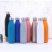 Cola forma bottiglia d'acqua in acciaio inox 500ml Sport Aspirapolvere Bocks Flasks Termos Bottiglie da viaggio Doppio Aspirato a parete Isolato GWB7013