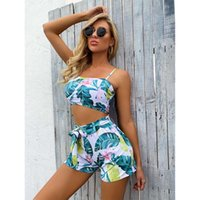 Women's Swimwear Sexy Women Tropical Plant Print Split Swimsuit Pattern Beach Bandage Bikini Set Two-piece And Swimming Trunks#32