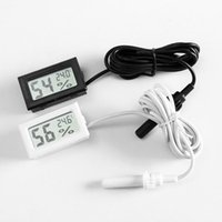 200pcs 미니 디지털 LCD 온도계 습도계 온도 습도 미터 프로브 화이트와 블랙 재고 무료 배