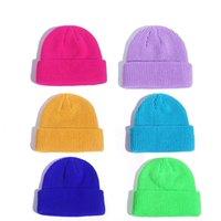Gestrickte Hüte Thermaler Skullcap 14 Farben Winter Warme Männer Schädel Mütze Hut Randlose Mode Lässige Melonkappe DDA703