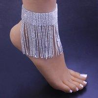 Glaming glänzender Strass Barfuß Sandalen Fußkettchen Boho Punk Schmuck Lange Quaste Anklets Für Frauen Hochzeitszubehör Ganzes