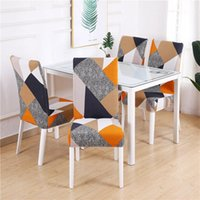 Chair Covers Anti-dirty Geometry Printed Spandex Stretch Cover For Dining Room Party Banquet El Wedding Case