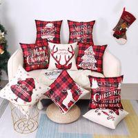 Cushion Decorative Pillow Christmas Throw Case 45x45 Bedroom Sofa Car Cushion Covers 1 Piece Festival Party Pillowcase With Zipper Linen Gri