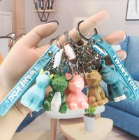 الكرتون الحيوانات قلادة مجوهرات المفاتيح نوعية جيدة حقيبة يد سبائك حلقة رئيسية الباندا ديناصور فوكس الكلب سحر الاطفال هدايا