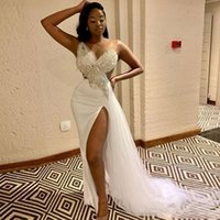 One Shoulder Mermaid Evening Dresses 2021 White Applique long Slit Prom Party Gowns Tulle Beading