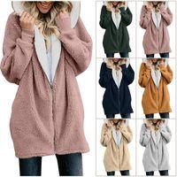 Women's Fur & Faux Women Cardigans Ladies Warm Jumper Fleece Coat Hoodie Outwear Femme Plus Size 5XL Jackets Winter
